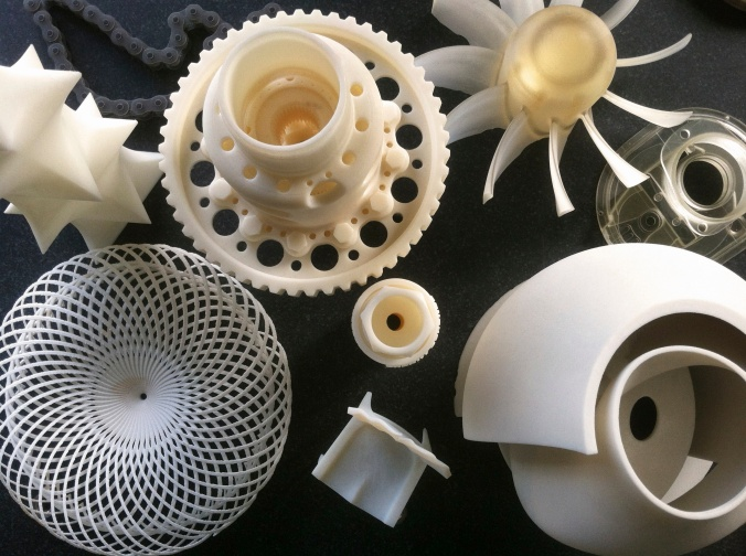 3D printed objects on display in the Autodesk Gallery in San Francisco.