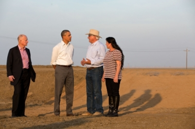 President Barack Obama tours a field with farmer Joe Del Bosque, his wife Maria, and California Gov. Jerry Brown in Los Banos, Calif., Feb. 14, 2014. (Official White House Photo by Pete Souza)